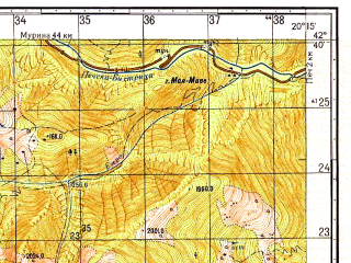 Reduced fragment of topographic map ru--gs--050k--k34-053-1--N042-40_E020-00--N042-30_E020-15