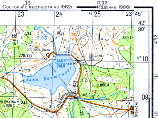 Reduced fragment of topographic map ru--gs--050k--k34-060-3--N042-30_E023-30--N042-20_E023-45; towns and cities Samokov