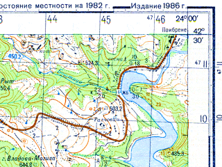 Reduced fragment of topographic map ru--gs--050k--k34-060-4--N042-30_E023-45--N042-20_E024-00; towns and cities Ikhtiman