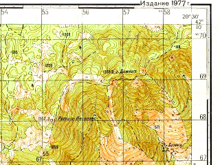 Reduced fragment of topographic map ru--gs--050k--k34-065-4--N042-10_E020-15--N042-00_E020-30; towns and cities Kukes