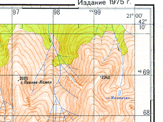 Reduced fragment of topographic map ru--gs--050k--k34-066-4--N042-10_E020-45--N042-00_E021-00; towns and cities Tetovo