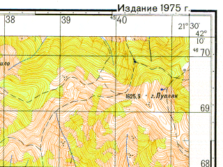 Reduced fragment of topographic map ru--gs--050k--k34-067-4--N042-10_E021-15--N042-00_E021-30; towns and cities Skopje