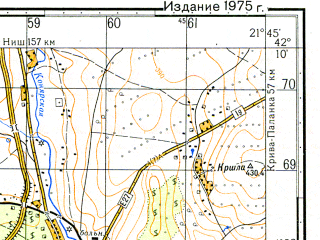 Reduced fragment of topographic map ru--gs--050k--k34-068-3--N042-10_E021-30--N042-00_E021-45; towns and cities Kumanovo