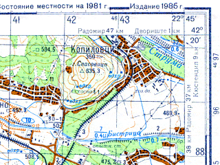 Reduced fragment of topographic map ru--gs--050k--k34-070-1--N042-20_E022-30--N042-10_E022-45; towns and cities Kyustendil