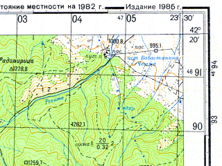 Reduced fragment of topographic map ru--gs--050k--k34-071-2--N042-20_E023-15--N042-10_E023-30; towns and cities Saparevo