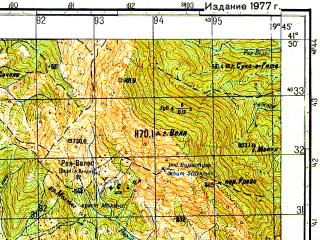 Reduced fragment of topographic map ru--gs--050k--k34-076-3--N041-50_E019-30--N041-40_E019-45; towns and cities Lezhe