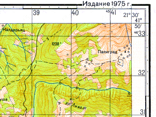 Reduced fragment of topographic map ru--gs--050k--k34-079-4--N041-50_E021-15--N041-40_E021-30; towns and cities Gorna Belica