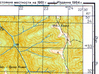Reduced fragment of topographic map ru--gs--050k--k34-081-4--N041-50_E022-15--N041-40_E022-30