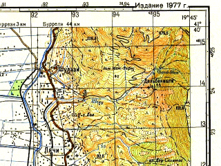 Reduced fragment of topographic map ru--gs--050k--k34-088-1--N041-40_E019-30--N041-30_E019-45; towns and cities Lac, Kep I Rodonit