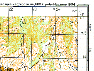 Reduced fragment of topographic map ru--gs--050k--k34-093-2--N041-40_E022-15--N041-30_E022-30