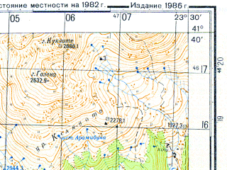 Reduced fragment of topographic map ru--gs--050k--k34-095-2--N041-40_E023-15--N041-30_E023-30; towns and cities Sandanski