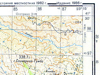 Reduced fragment of topographic map ru--gs--050k--k34-095-3--N041-30_E023-00--N041-20_E023-15; towns and cities Petrich