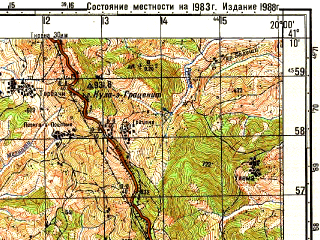 Reduced fragment of topographic map ru--gs--050k--k34-100-4--N041-10_E019-45--N041-00_E020-00; towns and cities Cerrik, Peqin