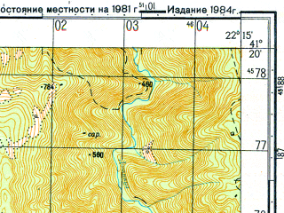 Reduced fragment of topographic map ru--gs--050k--k34-105-1--N041-20_E022-00--N041-10_E022-15; towns and cities Bosava