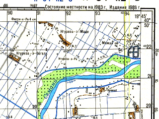 Reduced fragment of topographic map ru--gs--050k--k34-112-3--N040-50_E019-30--N040-40_E019-45; towns and cities Fier