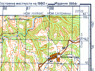Reduced fragment of topographic map ru--gs--050k--k34-119-1--N041-00_E023-00--N040-50_E023-15; towns and cities Lakhanas