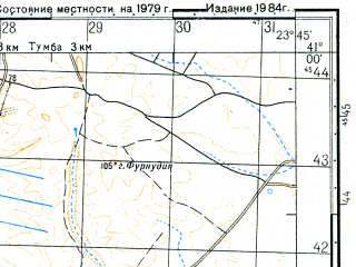 Reduced fragment of topographic map ru--gs--050k--k34-120-1--N041-00_E023-30--N040-50_E023-45; towns and cities Nigrita