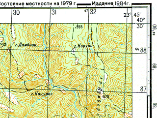 Reduced fragment of topographic map ru--gs--050k--k34-132-3--N040-30_E023-30--N040-20_E023-45; towns and cities Arnaia
