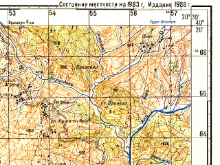 Reduced fragment of topographic map ru--gs--050k--k34-137-2--N040-20_E020-15--N040-10_E020-30; towns and cities Permet