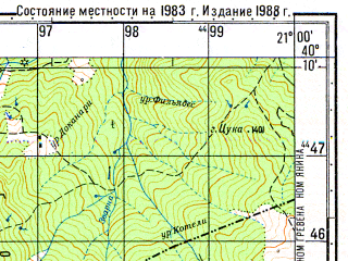 Reduced fragment of topographic map ru--gs--050k--k34-138-4--N040-10_E020-45--N040-00_E021-00; towns and cities Konitsa