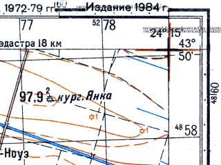 Reduced fragment of topographic map ru--gs--050k--k35-001-3--N043-50_E024-00--N043-40_E024-15; towns and cities Dabuleni