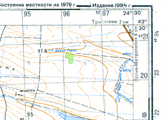 Reduced fragment of topographic map ru--gs--050k--k35-013-4--N043-30_E024-15--N043-20_E024-30; towns and cities Telish