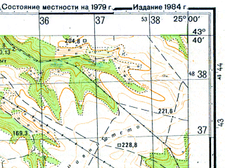 Reduced fragment of topographic map ru--gs--050k--k35-014-2--N043-40_E024-45--N043-30_E025-00; towns and cities Milkovitsa, Novachene