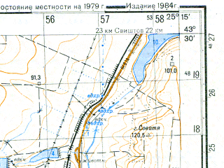 Reduced fragment of topographic map ru--gs--050k--k35-015-3--N043-30_E025-00--N043-20_E025-15; towns and cities Levski