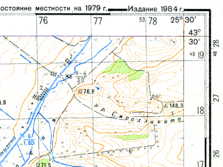 Reduced fragment of topographic map ru--gs--050k--k35-015-4--N043-30_E025-15--N043-20_E025-30; towns and cities Gorna Studena