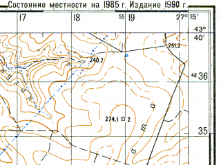 Reduced fragment of topographic map ru--gs--050k--k35-019-1--N043-40_E027-00--N043-30_E027-15