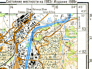 Reduced fragment of topographic map ru--gs--050k--k35-026-3--N043-10_E024-30--N043-00_E024-45; towns and cities Lovech
