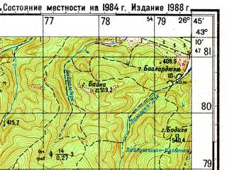 Reduced fragment of topographic map ru--gs--050k--k35-030-3--N043-10_E026-30--N043-00_E026-45; towns and cities Vurbitsa
