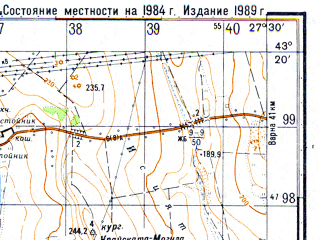 Reduced fragment of topographic map ru--gs--050k--k35-031-2--N043-20_E027-15--N043-10_E027-30; towns and cities Provadiya
