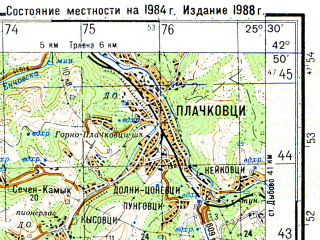 Reduced fragment of topographic map ru--gs--050k--k35-039-4--N042-50_E025-15--N042-40_E025-30; towns and cities Shipka
