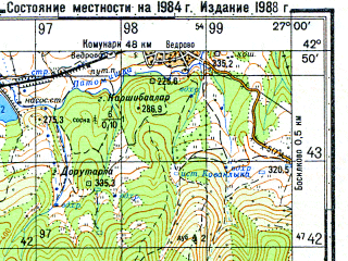 Reduced fragment of topographic map ru--gs--050k--k35-042-4--N042-50_E026-45--N042-40_E027-00; towns and cities Slavyantsi