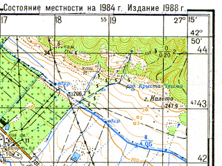 Reduced fragment of topographic map ru--gs--050k--k35-043-3--N042-50_E027-00--N042-40_E027-15; towns and cities Aytos