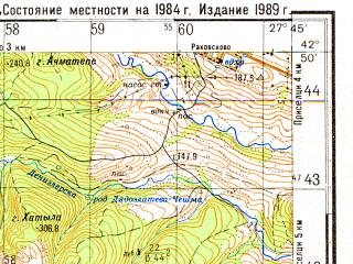 Reduced fragment of topographic map ru--gs--050k--k35-044-3--N042-50_E027-30--N042-40_E027-45; towns and cities Gyulovtsa