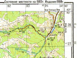 Reduced fragment of topographic map ru--gs--050k--k35-049-2--N042-40_E024-15--N042-30_E024-30; towns and cities Koprivshtitsa