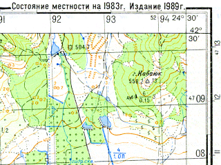 Reduced fragment of topographic map ru--gs--050k--k35-049-4--N042-30_E024-15--N042-20_E024-30; towns and cities Popintsi