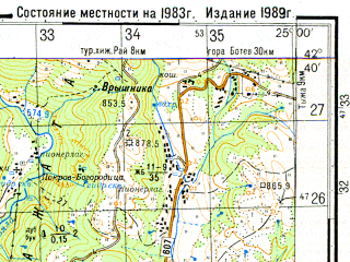 Reduced fragment of topographic map ru--gs--050k--k35-050-2--N042-40_E024-45--N042-30_E025-00; towns and cities Karlovo