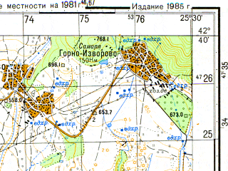 Reduced fragment of topographic map ru--gs--050k--k35-051-2--N042-40_E025-15--N042-30_E025-30; towns and cities Kazanluk