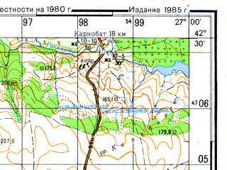 Reduced fragment of topographic map ru--gs--050k--k35-054-4--N042-30_E026-45--N042-20_E027-00; towns and cities Zornitsa