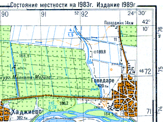 Reduced fragment of topographic map ru--gs--050k--k35-061-4--N042-10_E024-15--N042-00_E024-30; towns and cities Peshtera