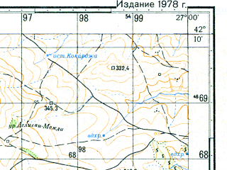 Reduced fragment of topographic map ru--gs--050k--k35-066-4--N042-10_E026-45--N042-00_E027-00; towns and cities Bolyarovo