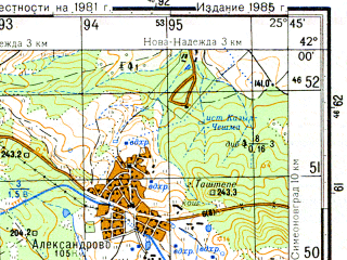 Reduced fragment of topographic map ru--gs--050k--k35-076-1--N042-00_E025-30--N041-50_E025-45; towns and cities Khaskovo