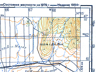 Reduced fragment of topographic map ru--gs--050k--k35-097-3--N041-10_E024-00--N041-00_E024-15; towns and cities Drama