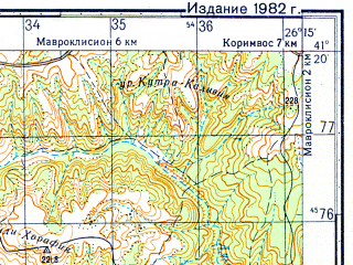 Reduced fragment of topographic map ru--gs--050k--k35-101-1--N041-20_E026-00--N041-10_E026-15