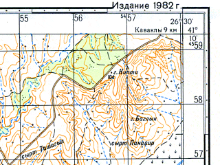 Reduced fragment of topographic map ru--gs--050k--k35-101-4--N041-10_E026-15--N041-00_E026-30; towns and cities Meric