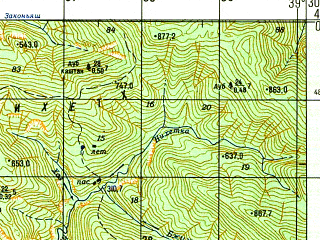 Reduced fragment of topographic map ru--gs--050k--k37-007-2--N044-00_E039-15--N043-50_E039-30