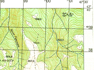 Reduced fragment of topographic map ru--gs--050k--k37-023-2--N043-40_E041-15--N043-30_E041-30